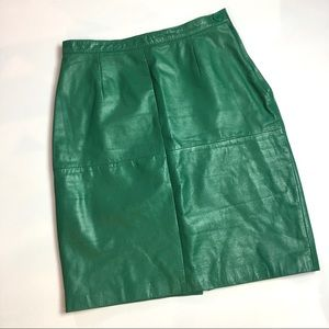 Vintage High Waisted Green Leather Pencil Skirt